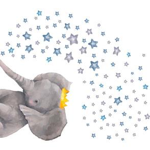 """27""""x18"""" Baby Elephant with Stars / 4 to 1 Yard of Minky"""