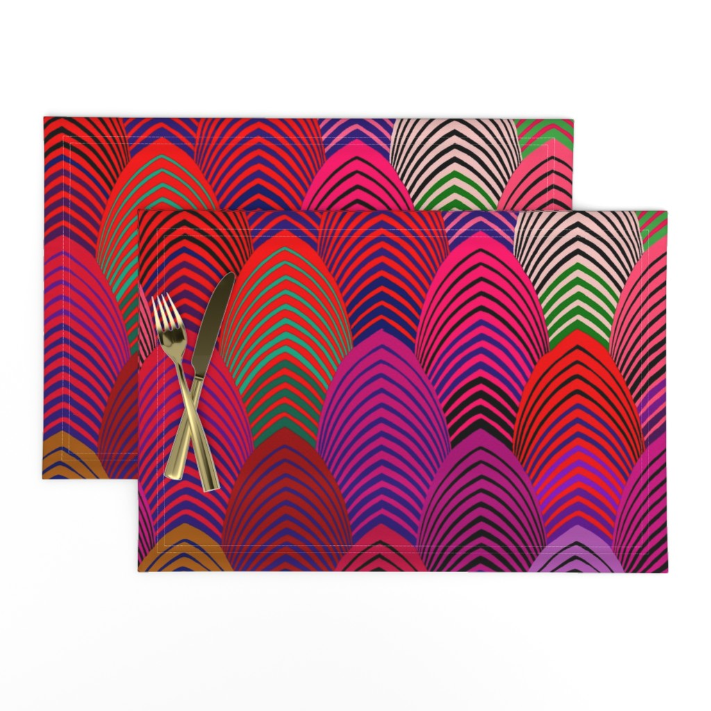Lamona Cloth Placemats featuring Jazz Arches - Red Green Pink 21x21 by vagabond_folk_art