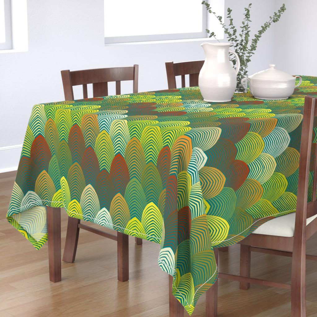 Bantam Rectangular Tablecloth featuring Jazz Arches - Lime, Goldenrod by vagabond_folk_art