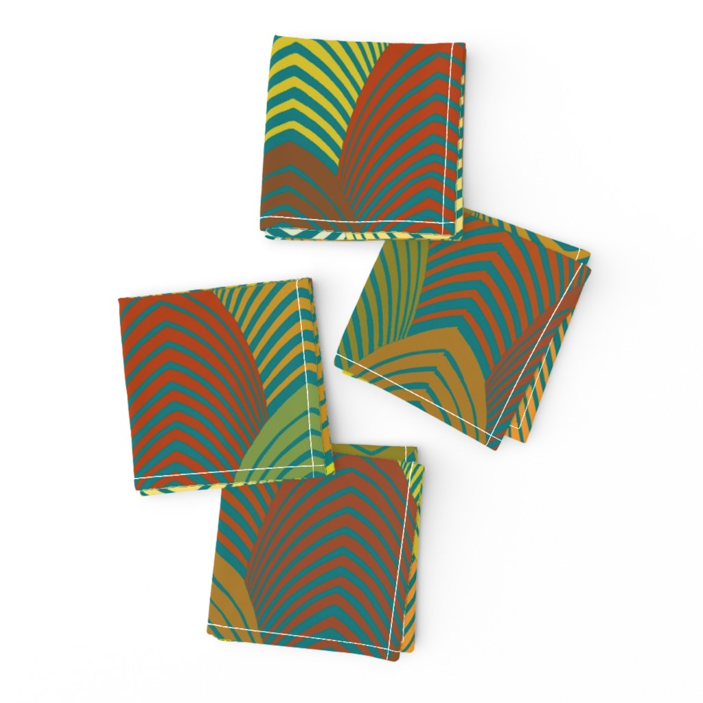 Frizzle Cocktail Napkins featuring Jazz Arches - Lime, Goldenrod by vagabond_folk_art