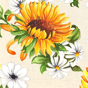 Sunflowers on beige