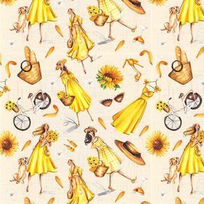 Girls in yellow shuffle on beige