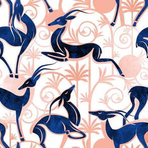 Normal scale // Deco Gazelles Garden // white background navy animals and rose metal textured decorative elements