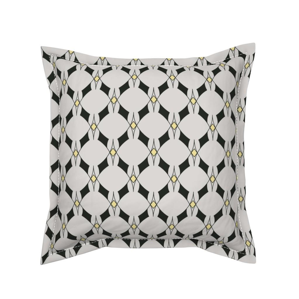 Serama Throw Pillow featuring Art Deco yellow diamond by ekpdesign