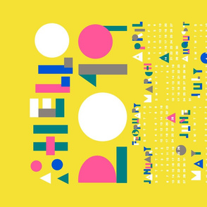 Yellow 2019 Calendar Tea Towel