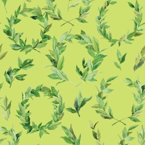 Watercolor Laurel Wreath - Lime Green
