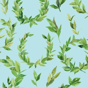 Watercolor Laurel Wreath - Green and baby blue