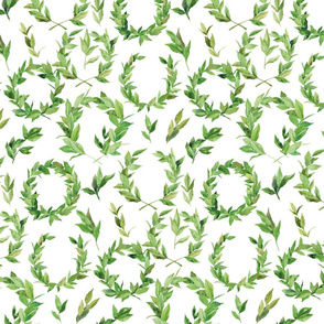 Watercolor Laurel Wreath - Green and white