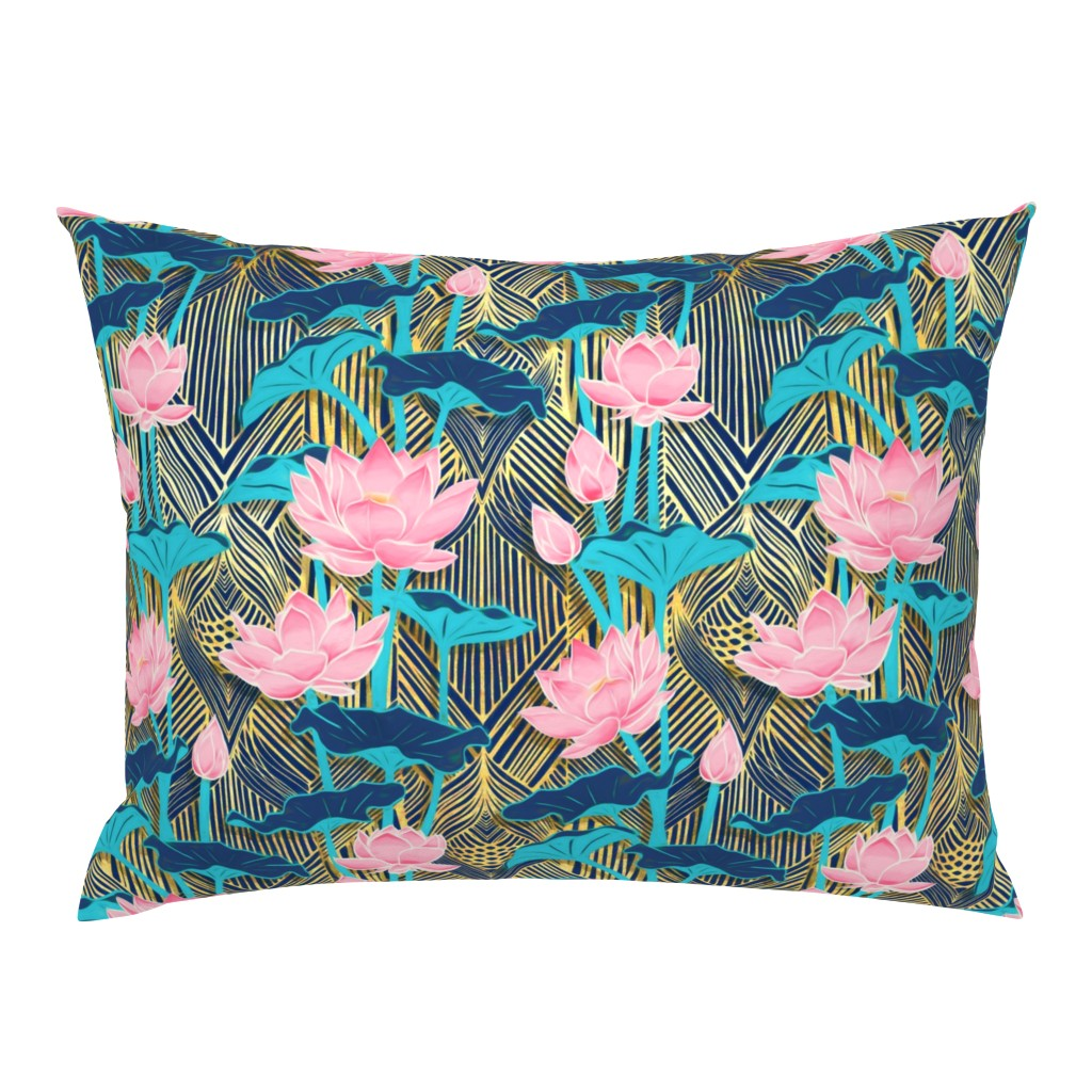 Campine Pillow Sham featuring Art Deco Lotus Flowers in Pink & Navy by micklyn