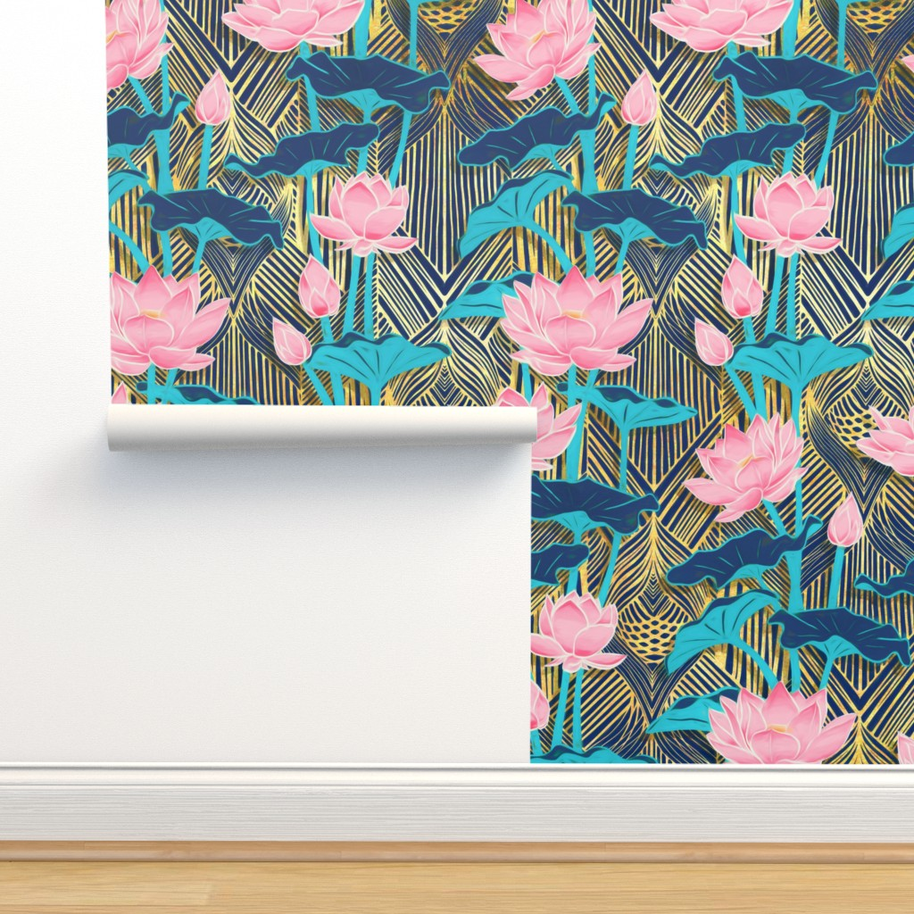Isobar Durable Wallpaper featuring Art Deco Lotus Flowers in Pink & Navy by micklyn