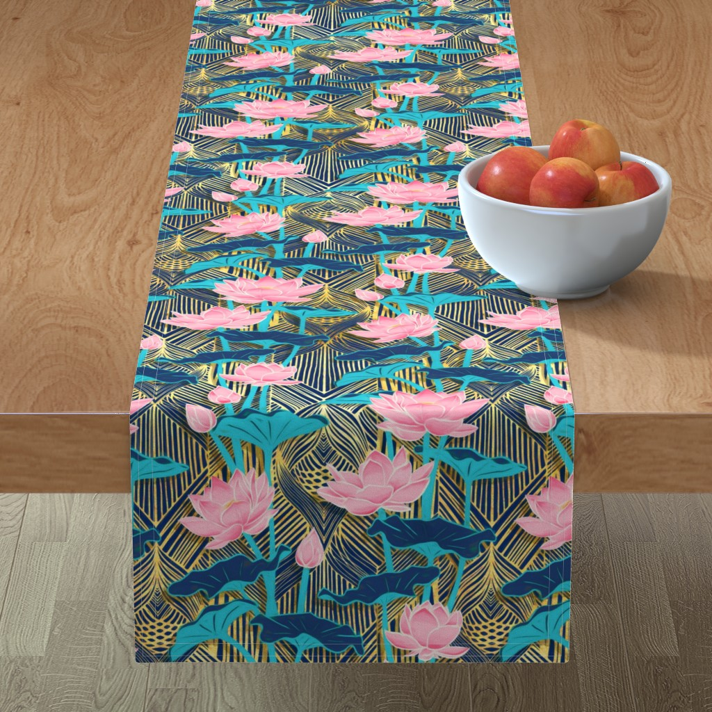 Minorca Table Runner featuring Art Deco Lotus Flowers in Pink & Navy by micklyn