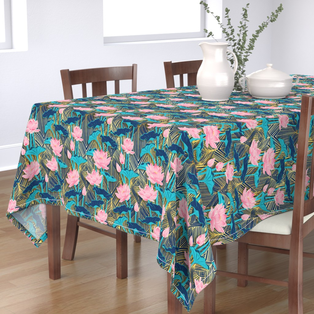 Bantam Rectangular Tablecloth featuring Art Deco Lotus Flowers in Pink & Navy by micklyn