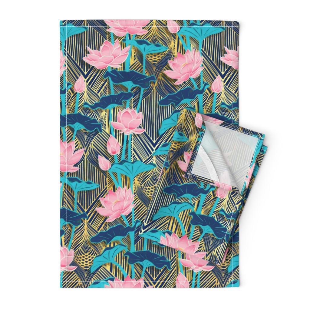Orpington Tea Towels featuring Art Deco Lotus Flowers in Pink & Navy by micklyn