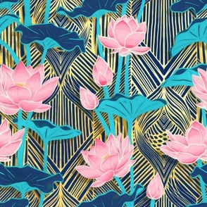 Art Deco Lotus Flowers in Pink & Navy