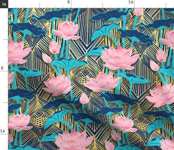 Art Deco Lotus Flowers In Pink Navy Spoonflower