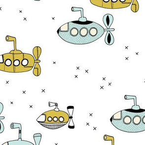 We all wanna live in a yellow submarine cute under water boats kids design yellow blue