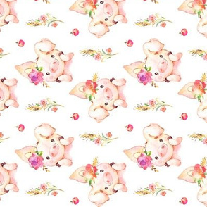 Miss Piglet ROTATED - Baby Girl Pig with Flowers & Apples