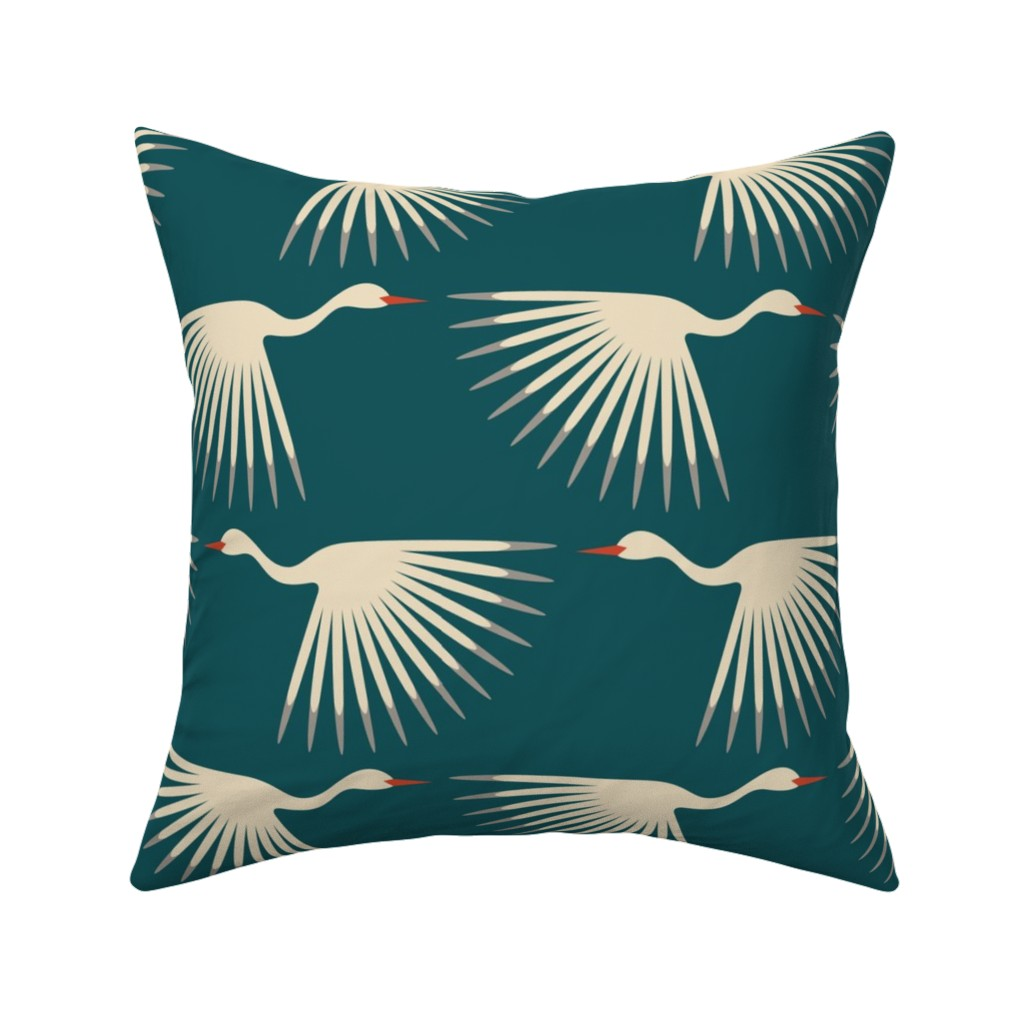 Catalan Throw Pillow featuring Art Deco Cranes by katerhees
