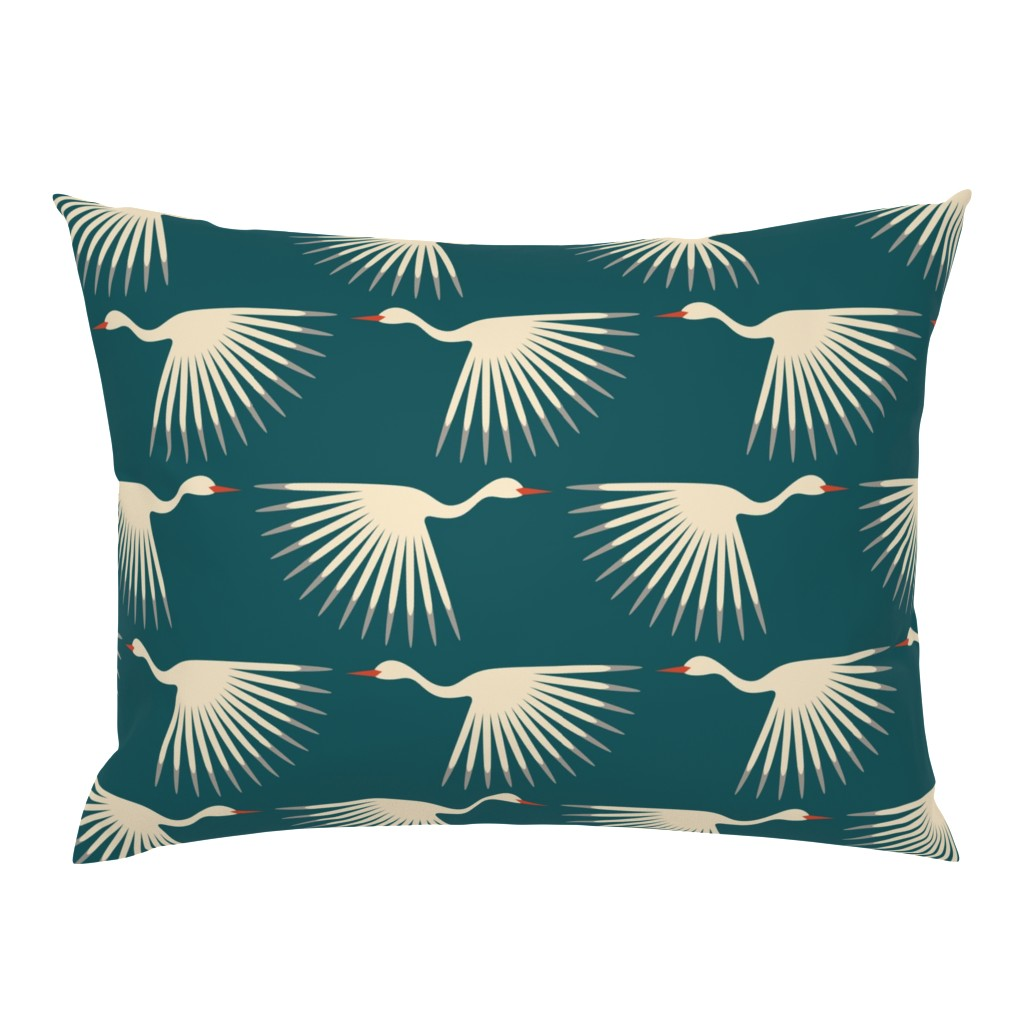 Campine Pillow Sham featuring Art Deco Cranes by katerhees