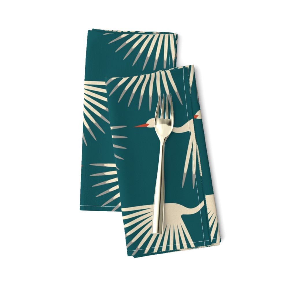 Amarela Dinner Napkins featuring Art Deco Cranes by katerhees