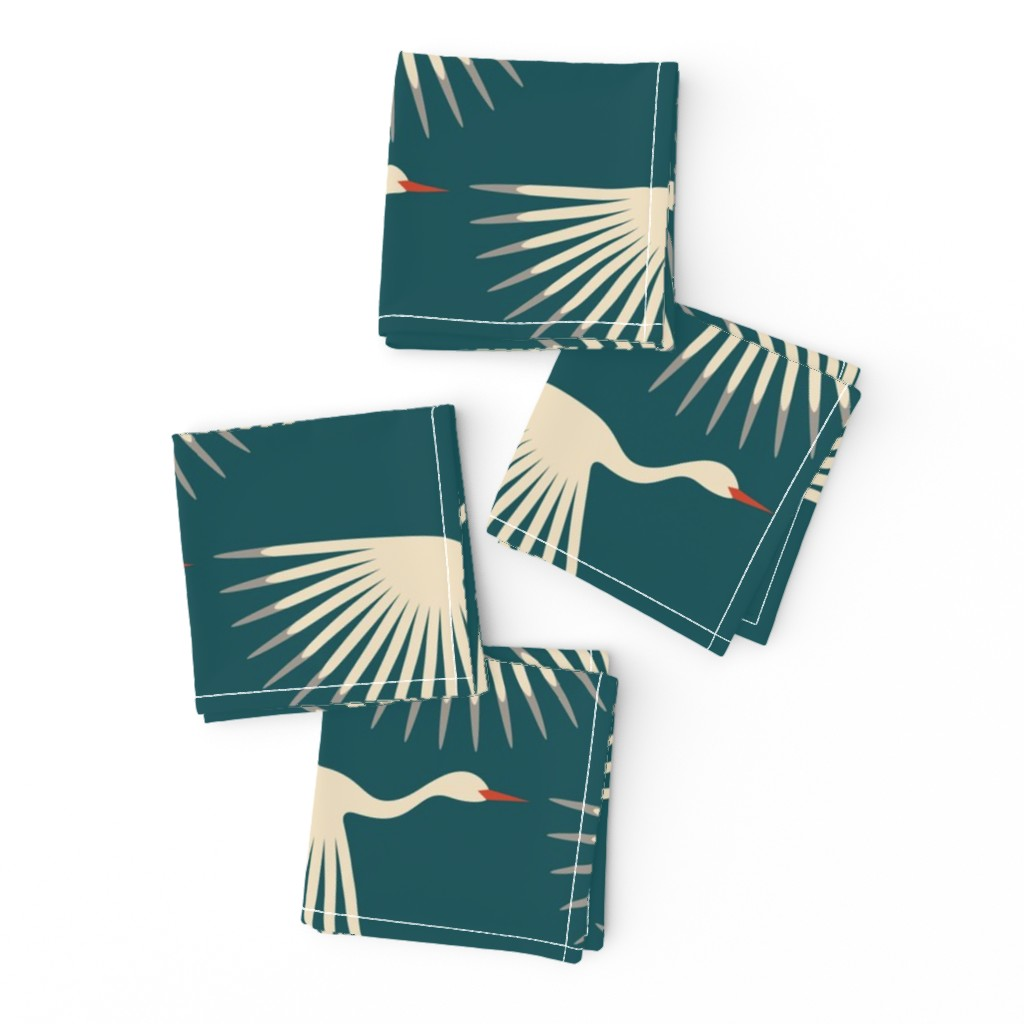 Frizzle Cocktail Napkins featuring Art Deco Cranes by katerhees