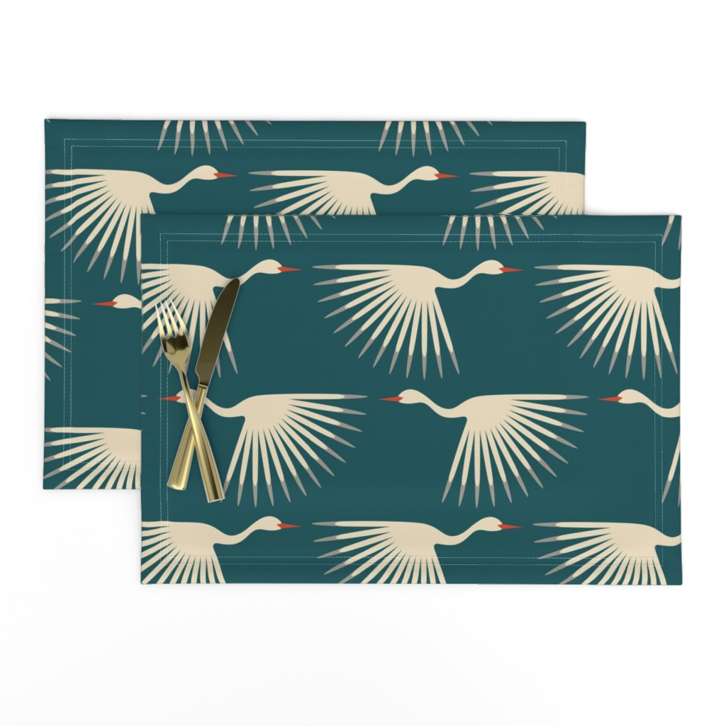 Lamona Cloth Placemats featuring Art Deco Cranes by katerhees