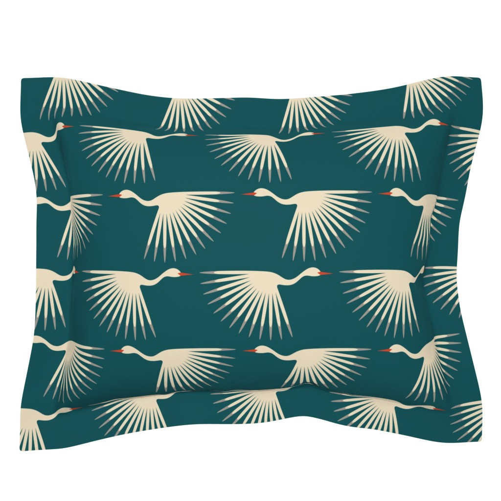 Sebright Pillow Sham featuring Art Deco Cranes by katerhees
