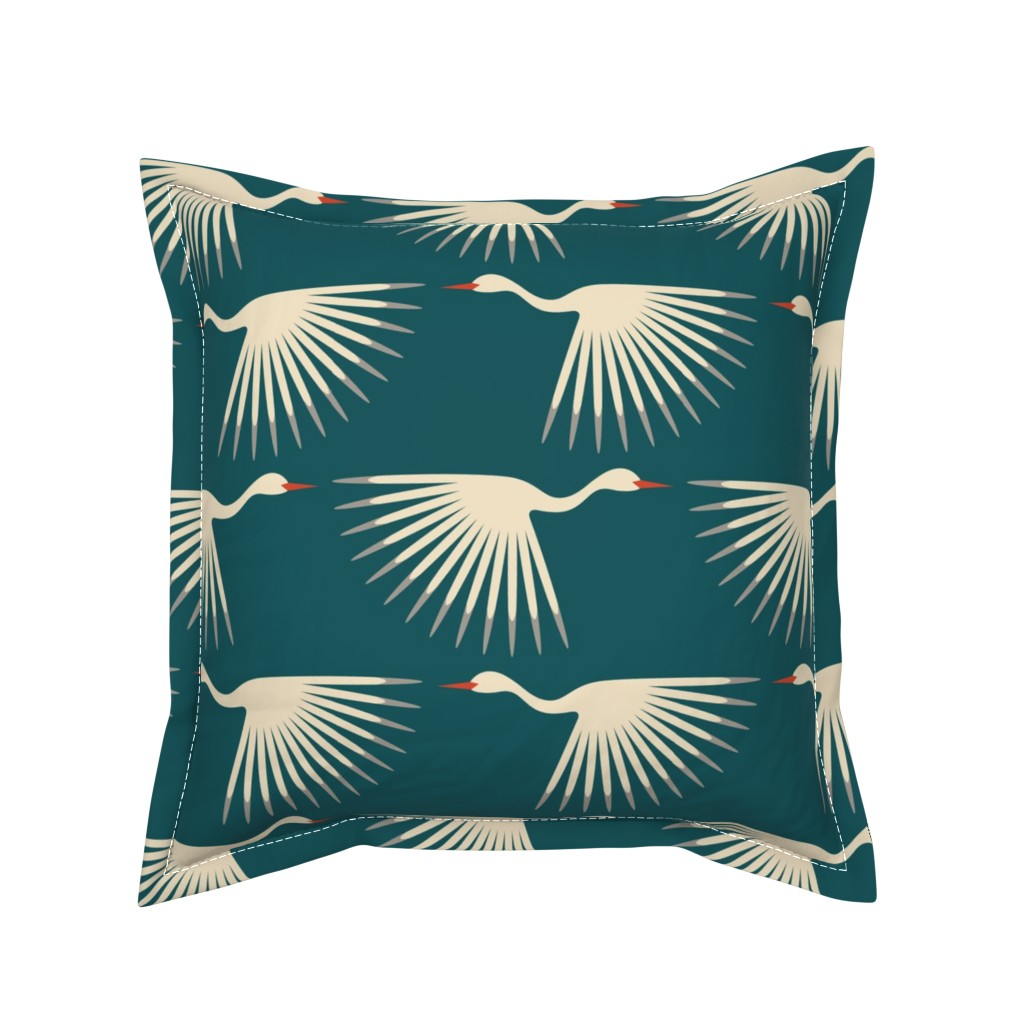 Serama Throw Pillow featuring Art Deco Cranes by katerhees
