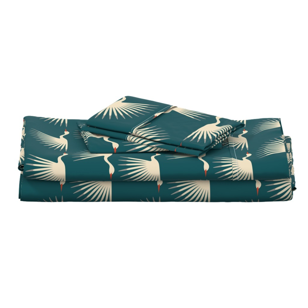 Langshan Full Bed Set featuring Art Deco Cranes by katerhees