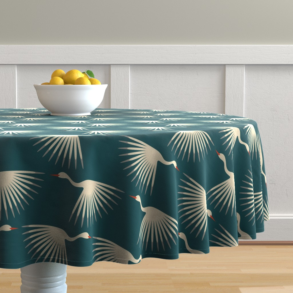 Malay Round Tablecloth featuring Art Deco Cranes by katerhees