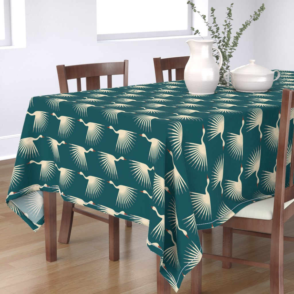 Bantam Rectangular Tablecloth featuring Art Deco Cranes by katerhees