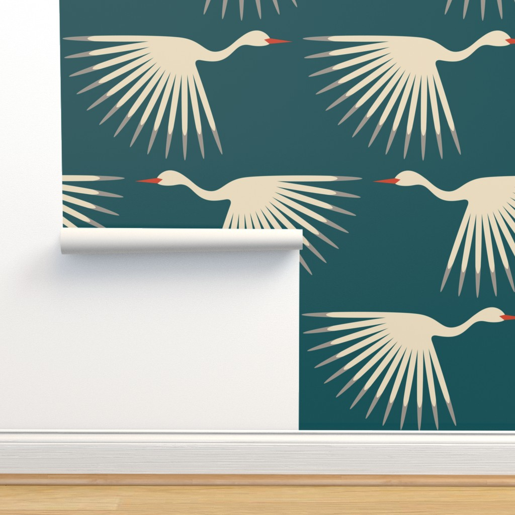 Isobar Durable Wallpaper featuring Art Deco Cranes by katerhees