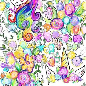 Rainbow Unicorns + Flowers