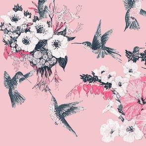 Blush & Gray Humming Bird Fabric Design