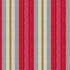 red, gray and mustard stripe-fanciful fifties flowers coordinate barkcloth
