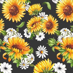 Sunflowers on grey - big scale