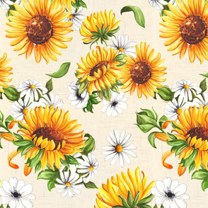 Sunflowers on beige - small scale