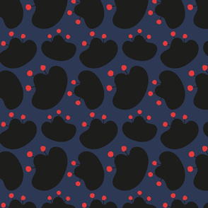 black flowers JANIKA on navy