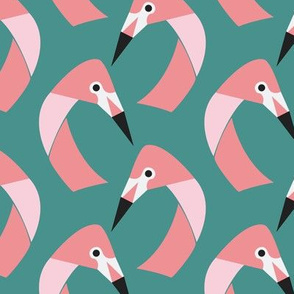 flamingos on  green