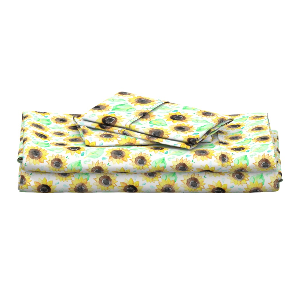 Langshan Full Bed Set featuring Cheerful Watercolor Sunflowers - Large Scale by tangerine-tane