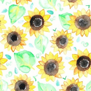 Cheerful Watercolor Sunflowers - Large Scale