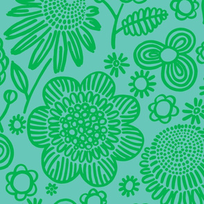 60s floral (green on pale aqua)