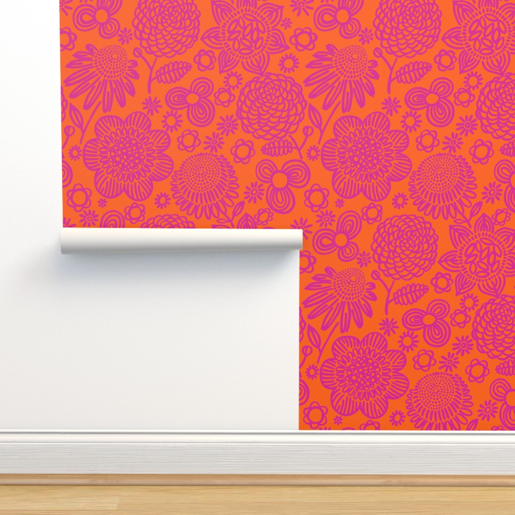 Isobar Durable Wallpaper featuring 60s floral (shocking on orange) by kate_rowley