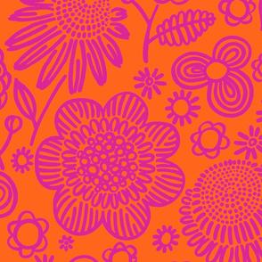60s floral (shocking on orange)