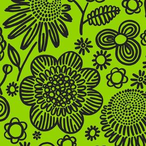 60s floral (black on lime)