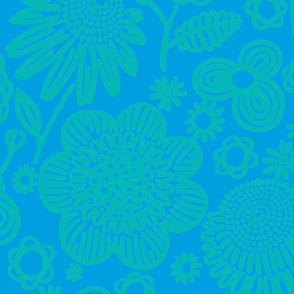 60s floral (aqua on blue)