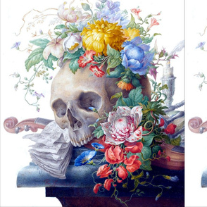 2 custom skeleton skull violin flowers