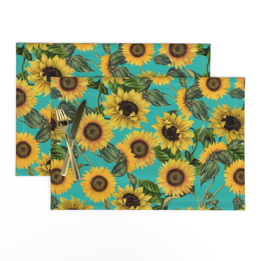 "Lamona Cloth Placemats featuring 18"" Vintage Sunflowers on Teal  sunflower fabric, sunflowers fabric  by utart"