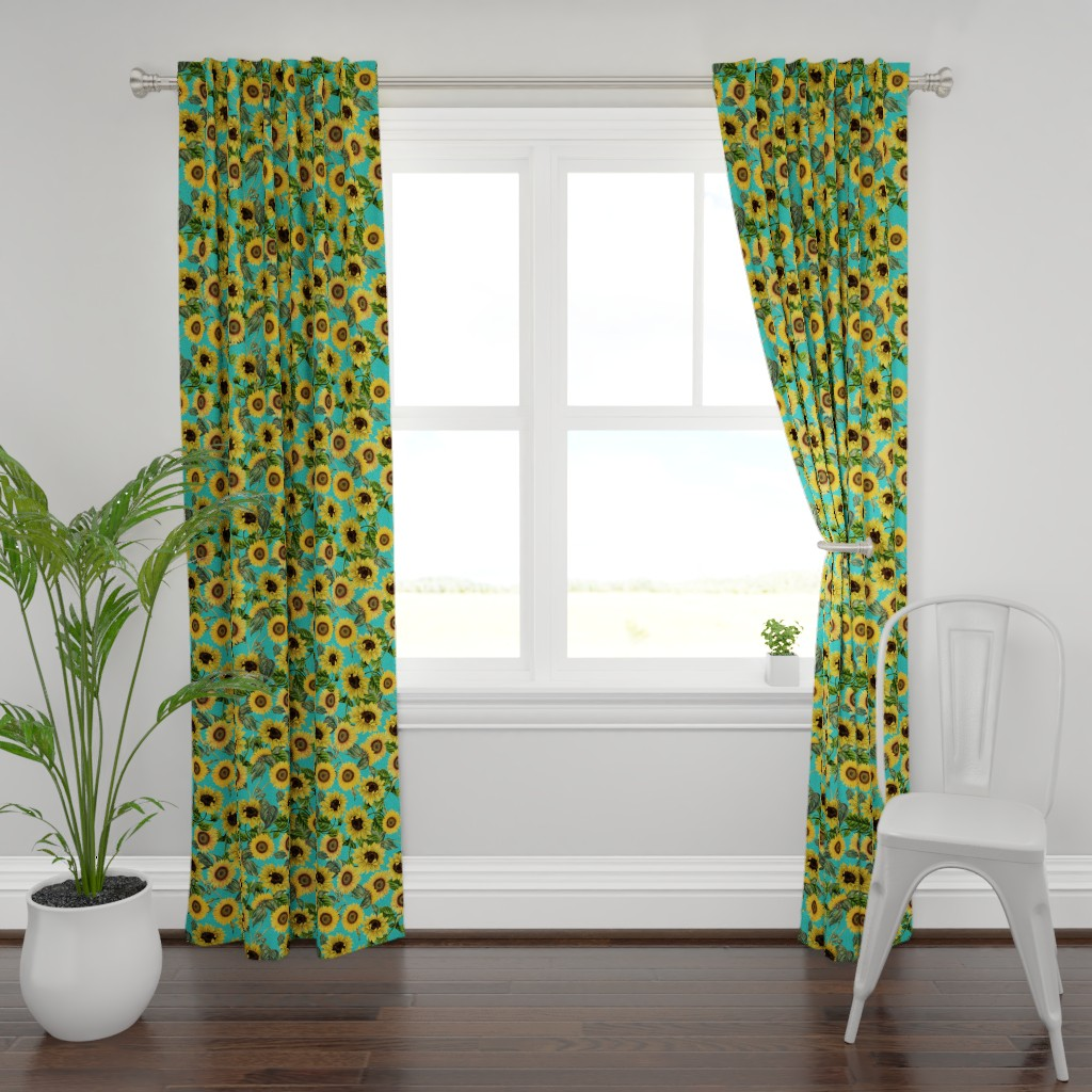 "Plymouth Curtain Panel featuring 18"" Vintage Sunflowers on Teal  sunflower fabric, sunflowers fabric  by utart"