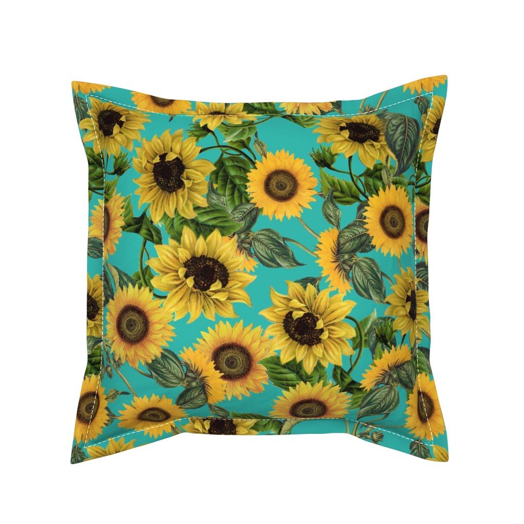 "Serama Throw Pillow featuring 18"" Vintage Sunflowers on Teal  sunflower fabric, sunflowers fabric  by utart"